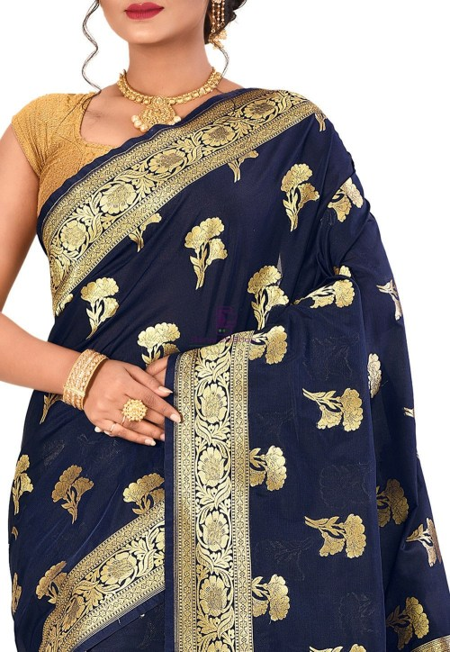Banarasi Saree in Navy Blue 5
