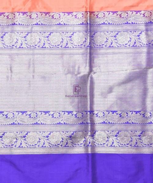 Banarasi Pure Katan Silk Handloom Peach Pink Saree 6
