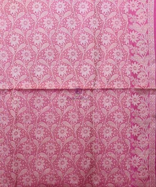 Woven Pure Tussar Silk Banarasi Saree in Rose Pink 6