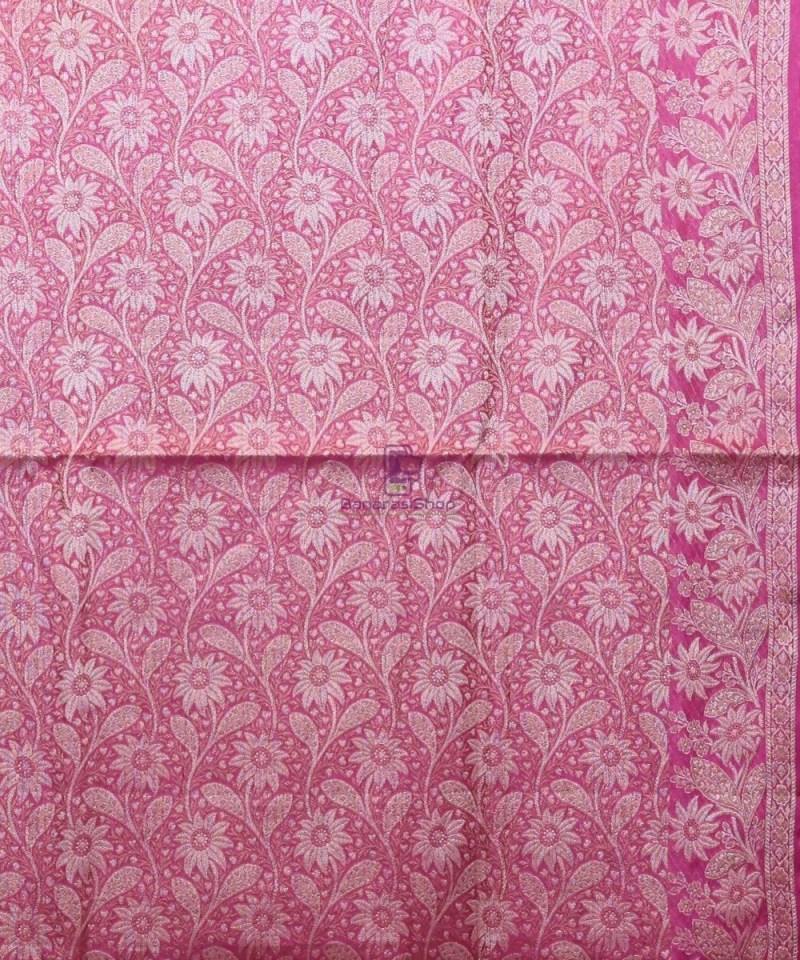 Woven Pure Tussar Silk Banarasi Saree in Rose Pink 3