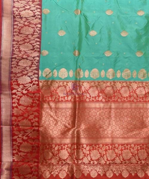 Banarasi Pure Katan Silk Handloom Sky Blue Saree 5