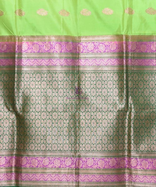 Banarasi Pure Katan Silk Handloom Lime Green Saree 6