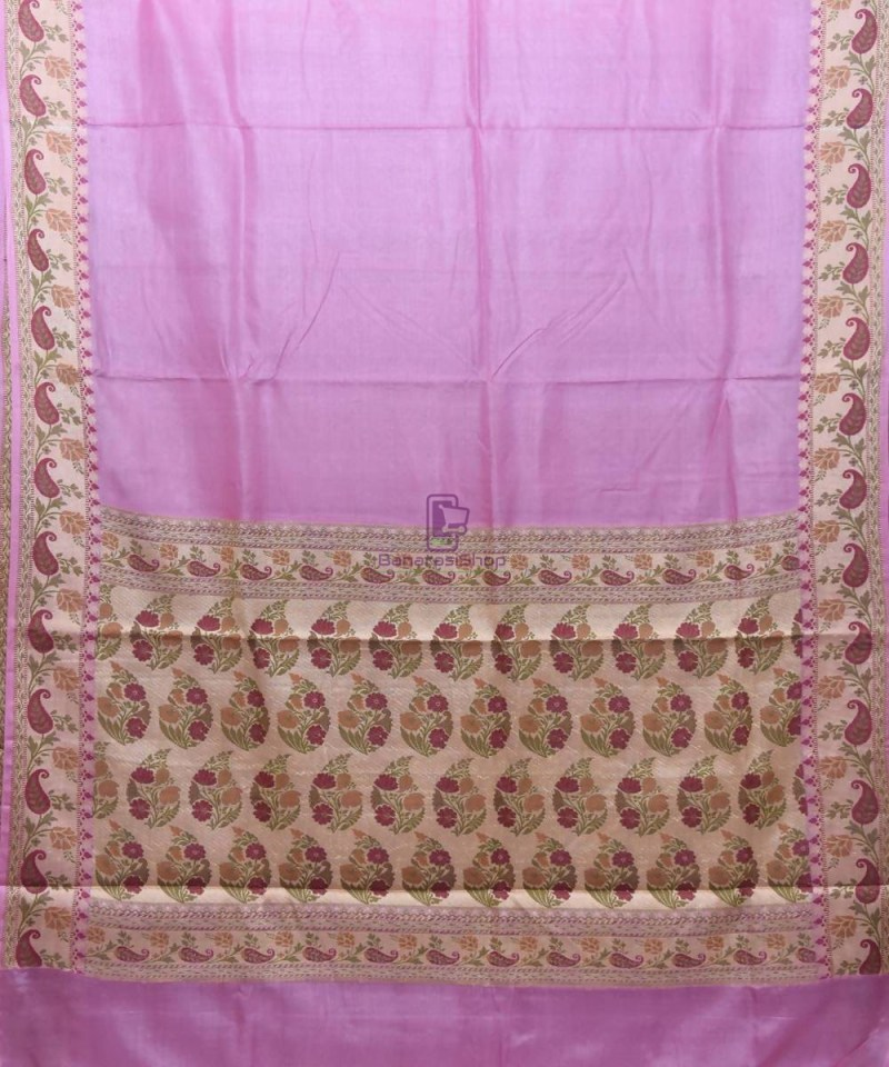 Woven Pure Tussar Silk Banarasi Saree in Lilac Purple 1