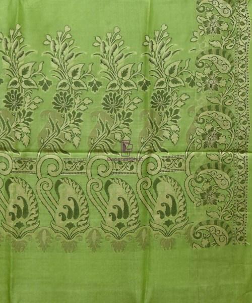 Woven Pure Tussar Silk Banarasi Saree in Pear Green 6
