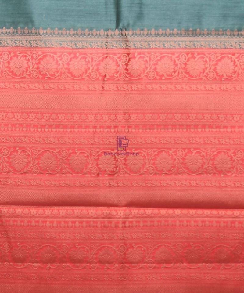 Woven Pure Muga Silk Banarasi Saree in Green 3