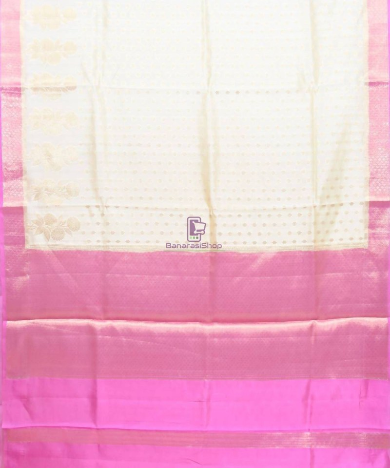 Pure Silk Banarasi Dupion Katan Handloom Saree in Off White 1