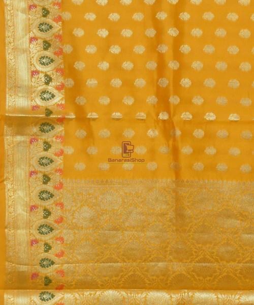 Pure Silk Banarasi Dupion Katan Handloom Saree in Yellow 5