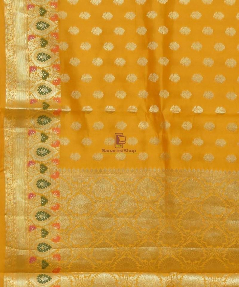 Pure Silk Banarasi Dupion Katan Handloom Saree in Yellow 2