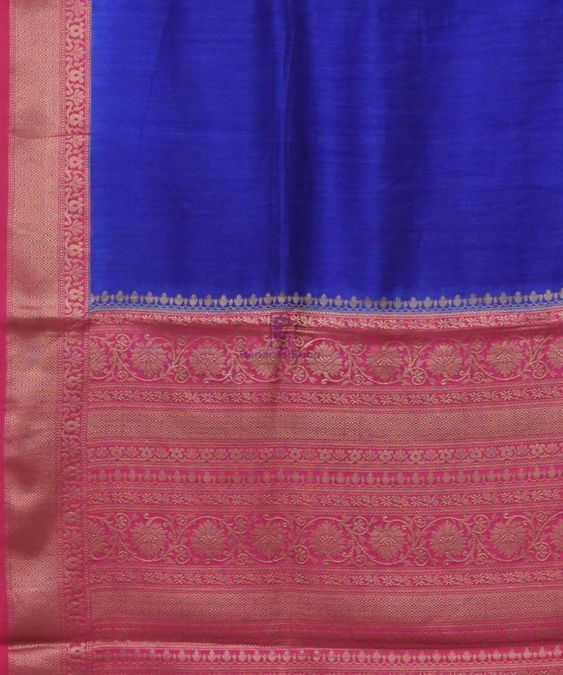 Woven Pure Muga Silk Banarasi Saree in Navy Blue 2