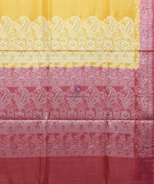 Woven Pure Tussar Silk Banarasi Saree in Canary Yellow 6