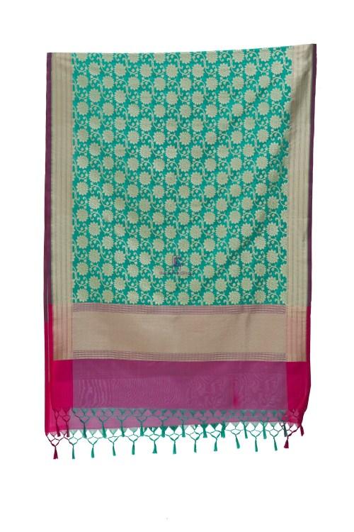 Woven Banarasi Art Silk Dupatta in Turquoise 9