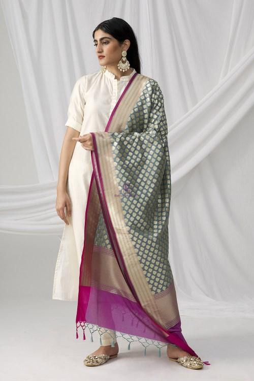 Woven Banarasi Art Silk Dupatta in Grey 6