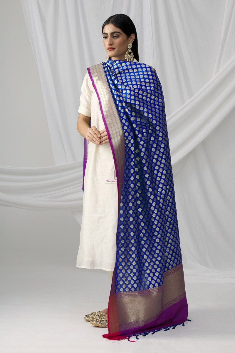 Woven Banarasi Art Silk Dupatta in Royal Blue 1