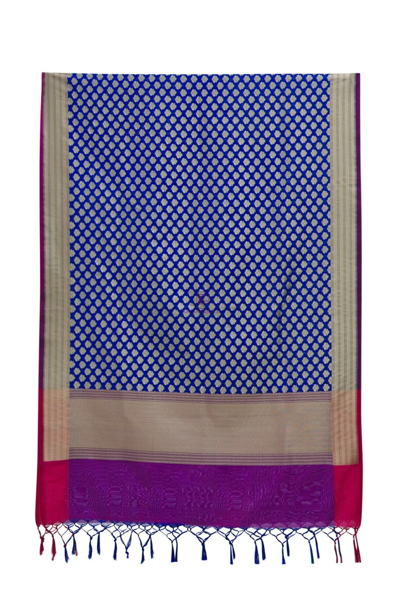 Woven Banarasi Art Silk Dupatta in Royal Blue 5