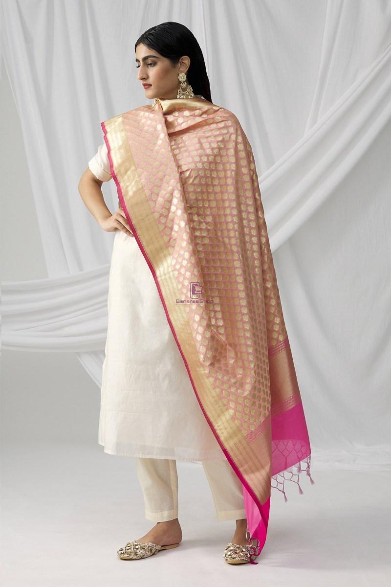 Woven Banarasi Art Silk Dupatta in Pink 1