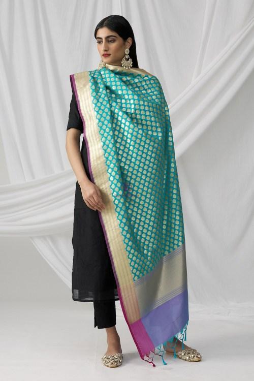 Woven Banarasi Art Silk Dupatta in Teal Blue 4