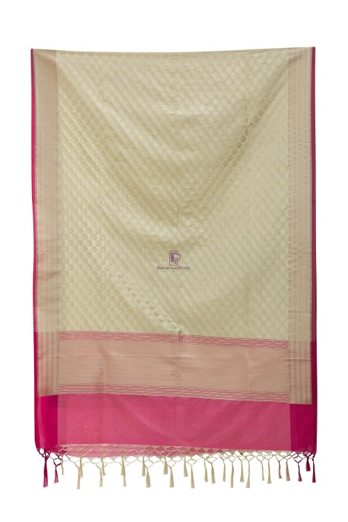 Woven Banarasi Art Silk Dupatta in White 7