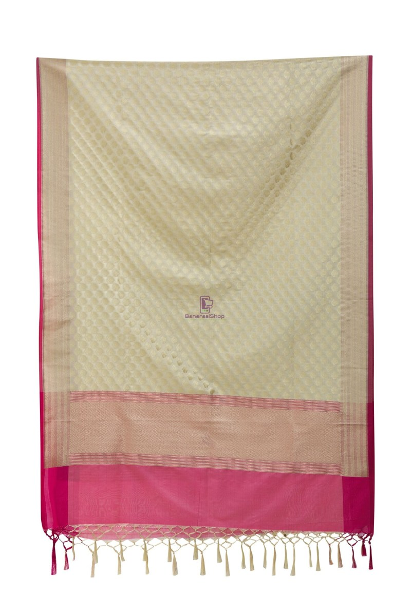 Woven Banarasi Art Silk Dupatta in White 3