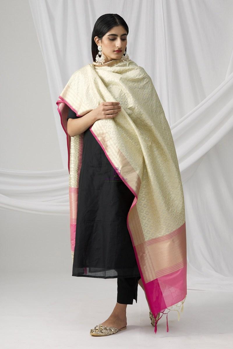 Woven Banarasi Art Silk Dupatta in Beige 5
