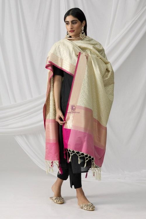 Woven Banarasi Art Silk Dupatta in Beige 8