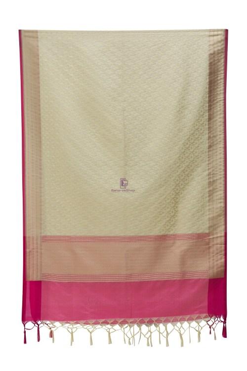 Woven Banarasi Art Silk Dupatta in Beige 7