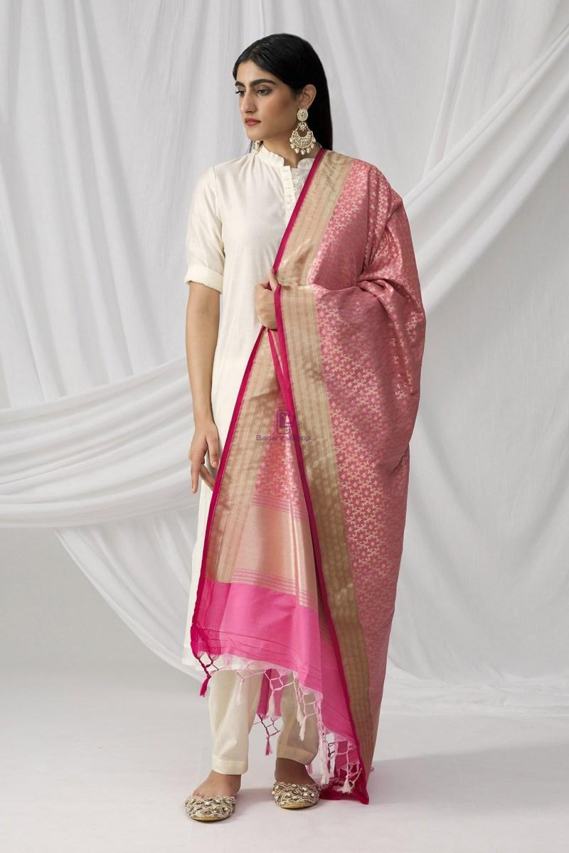 Woven Banarasi Art Silk Dupatta in Pink 2