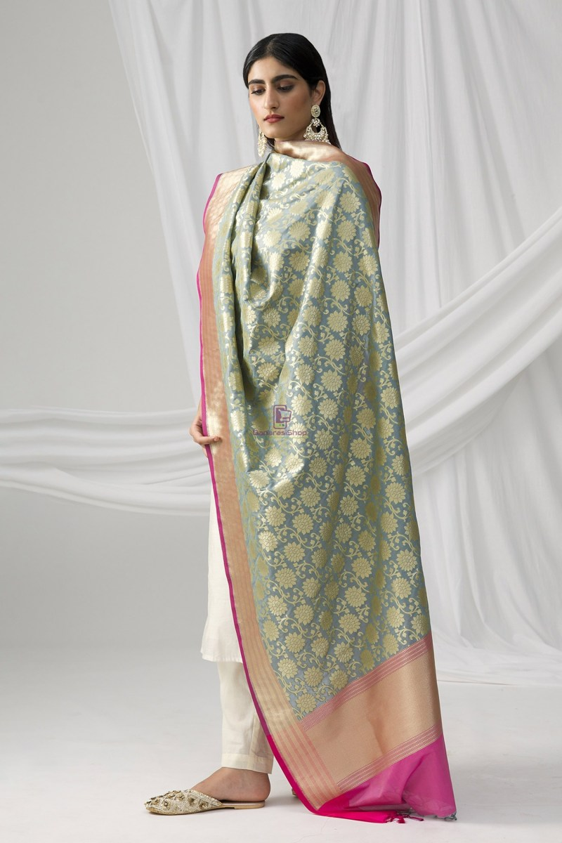 Woven Banarasi Art Silk Dupatta in Grey 1