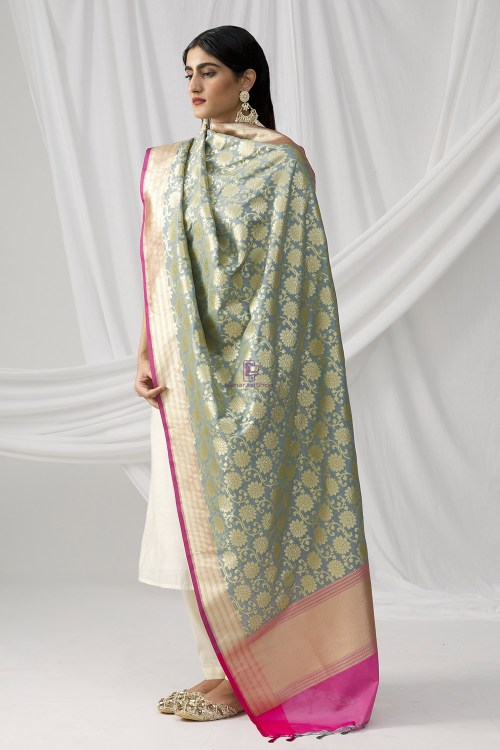 Woven Banarasi Art Silk Dupatta in Grey 6