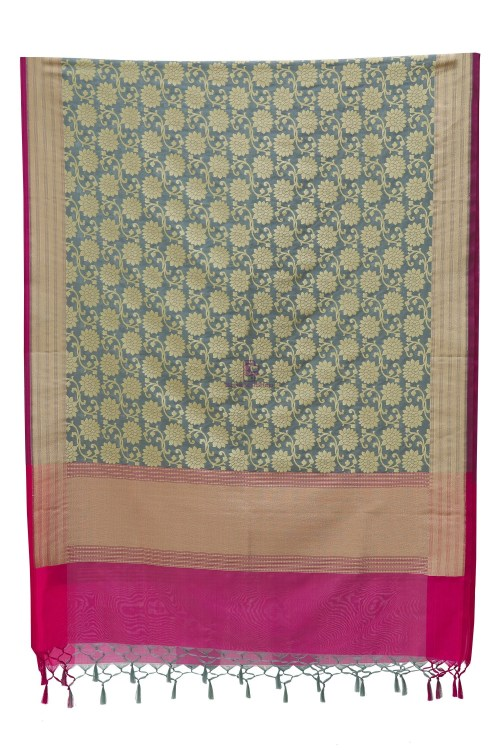Woven Banarasi Art Silk Dupatta in Grey 7