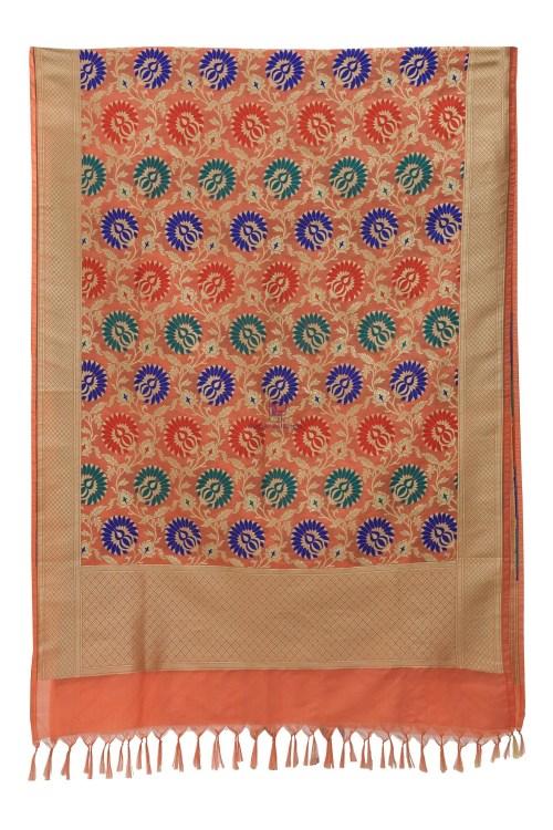 Woven Banarasi Art Silk Kimkhab Dupatta in Peach 7