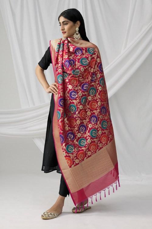 Woven Banarasi Art Silk Kimkhab Dupatta in Fuchsia 6