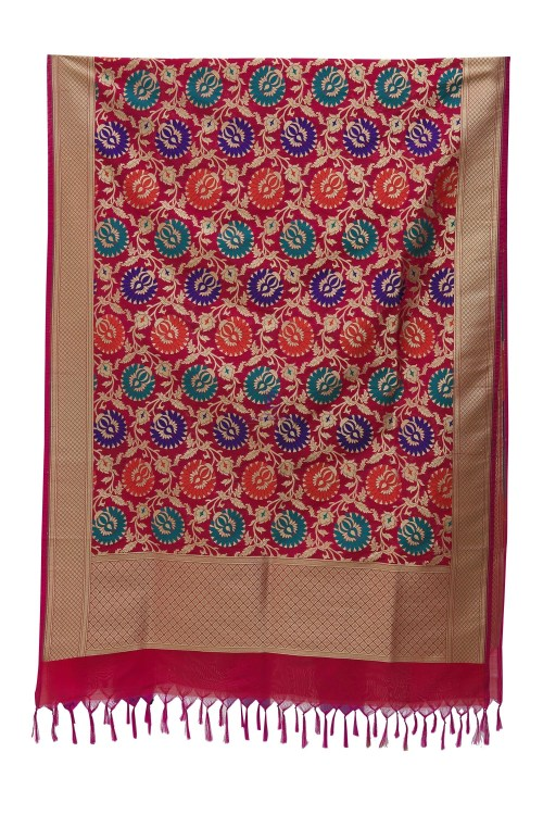 Woven Banarasi Art Silk Kimkhab Dupatta in Fuchsia 7