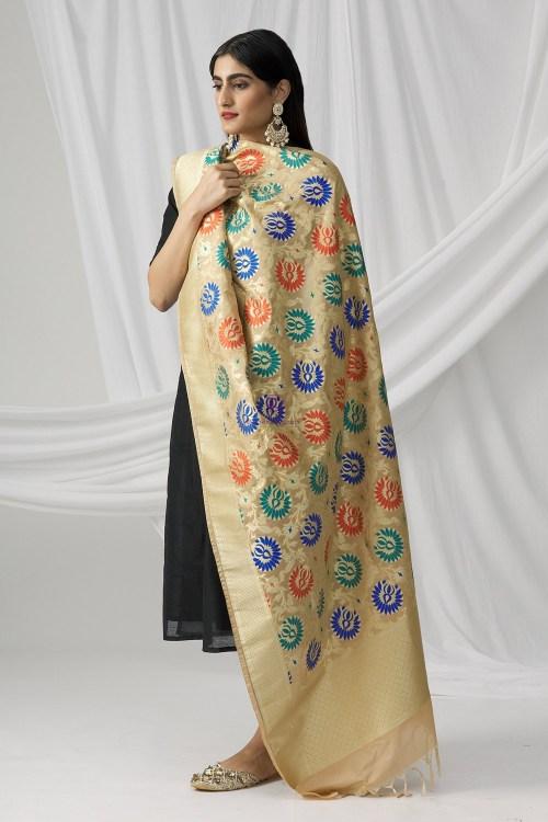 Woven Banarasi Art Silk Kimkhab Dupatta in Beige 8