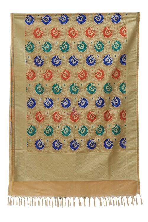 Woven Banarasi Art Silk Kimkhab Dupatta in Beige 7