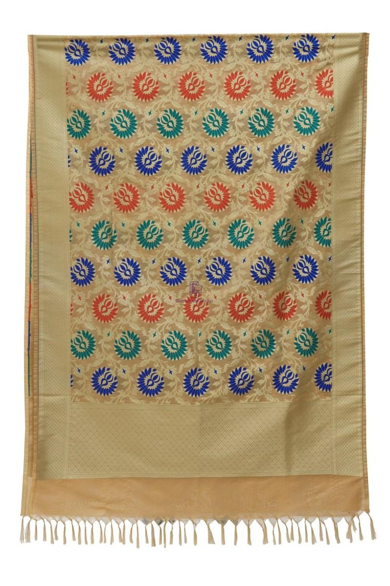 Woven Banarasi Art Silk Kimkhab Dupatta in Beige 3