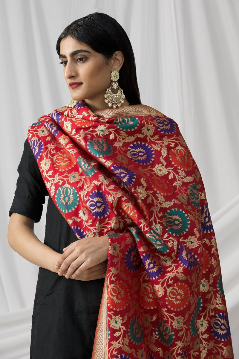 Woven Banarasi Art Silk Kimkhab Dupatta in Red 4