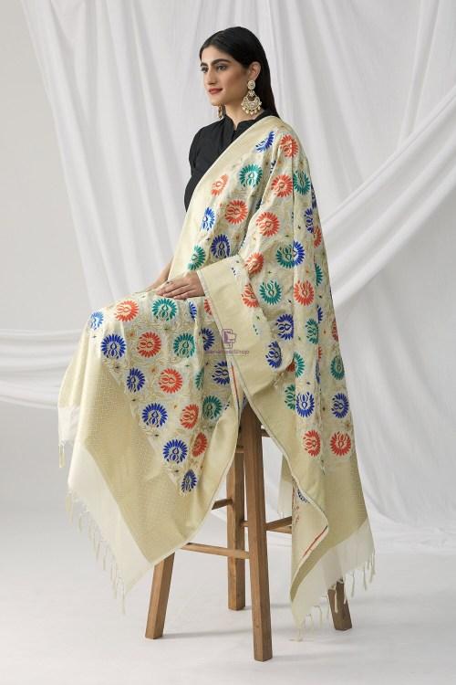 Woven Banarasi Art Silk Kimkhab Dupatta in White 8