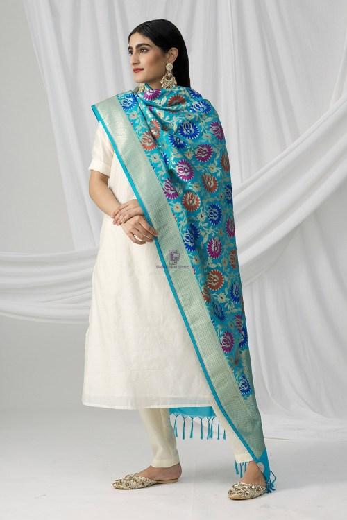 Woven Banarasi Art Silk Kimkhab Dupatta in Sky Blue 6