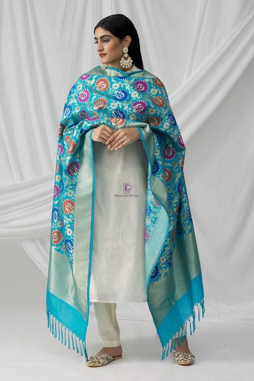 Woven Banarasi Art Silk Kimkhab Dupatta in Sky Blue 9