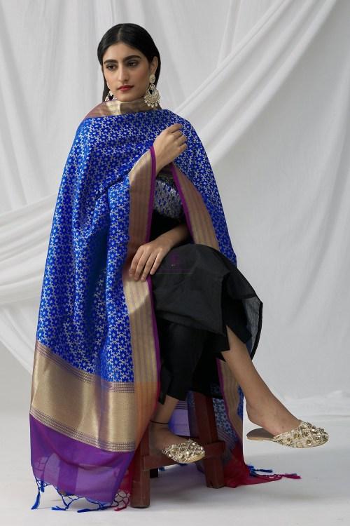 Woven Banarasi Art Silk Dupatta in Royal Blue 6