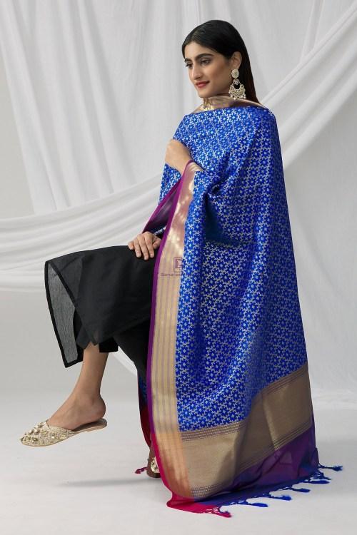 Woven Banarasi Art Silk Dupatta in Royal Blue 7