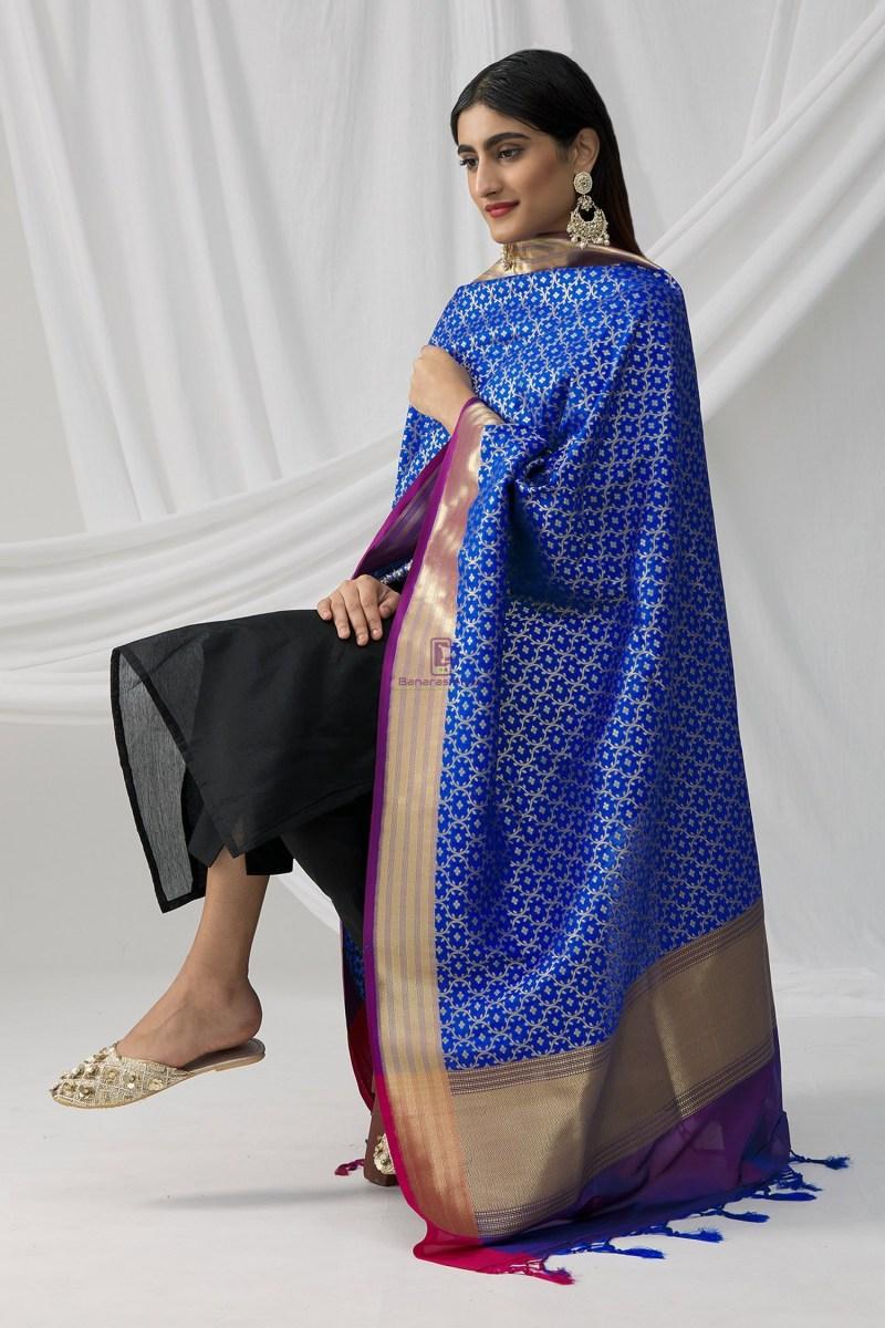 Woven Banarasi Art Silk Dupatta in Royal Blue 3