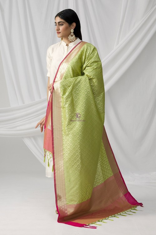 Woven Banarasi Art Silk Dupatta in Pista Green 5