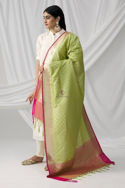 Woven Banarasi Art Silk Dupatta in Pista Green 6