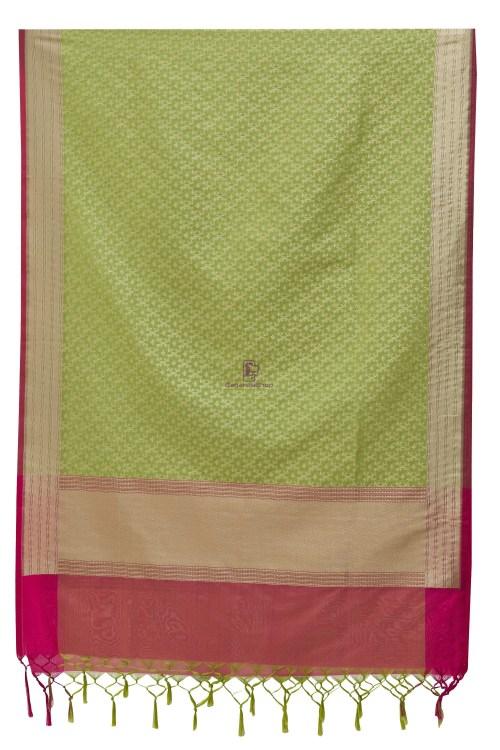 Woven Banarasi Art Silk Dupatta in Pista Green 7