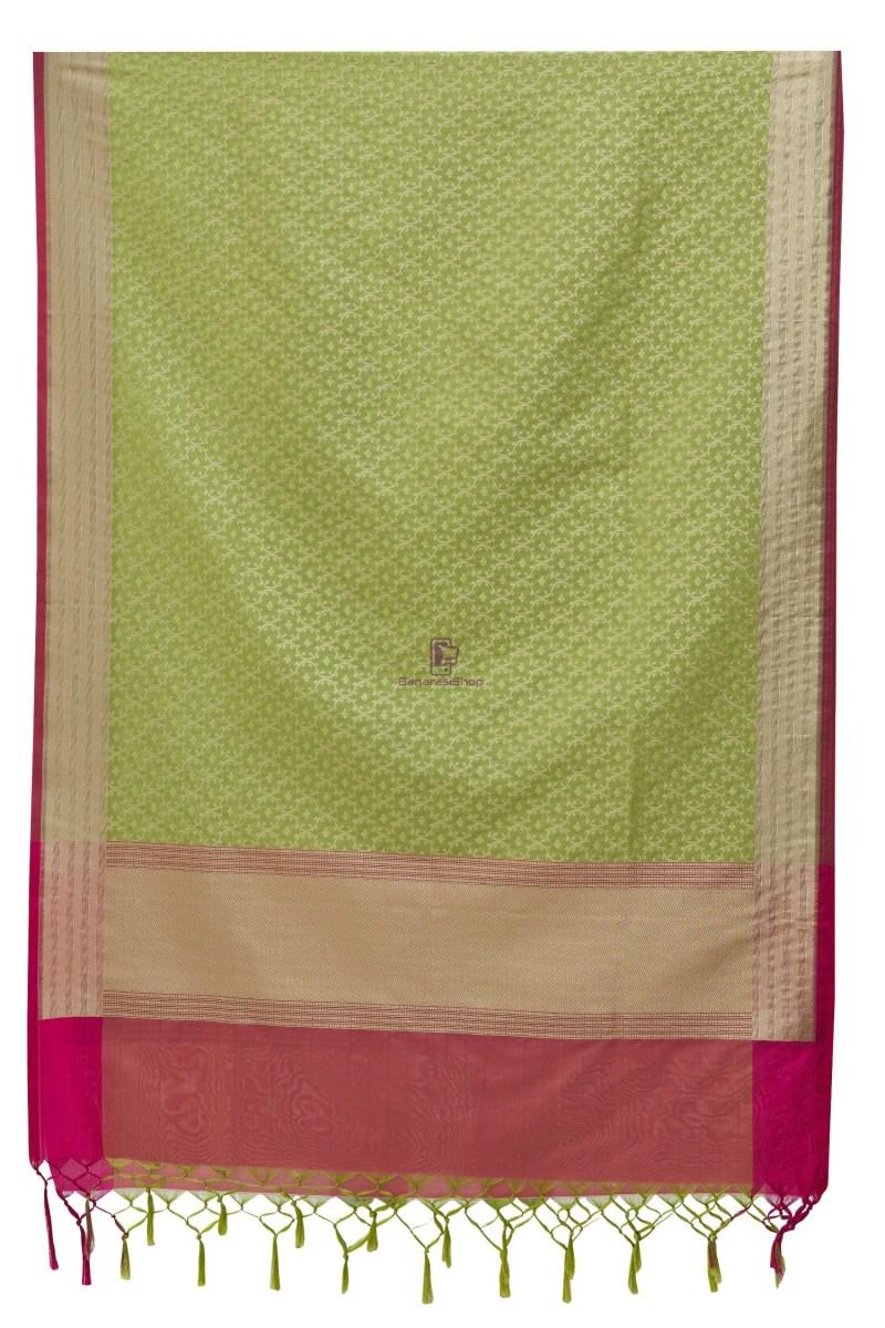 Woven Banarasi Art Silk Dupatta in Pista Green 4