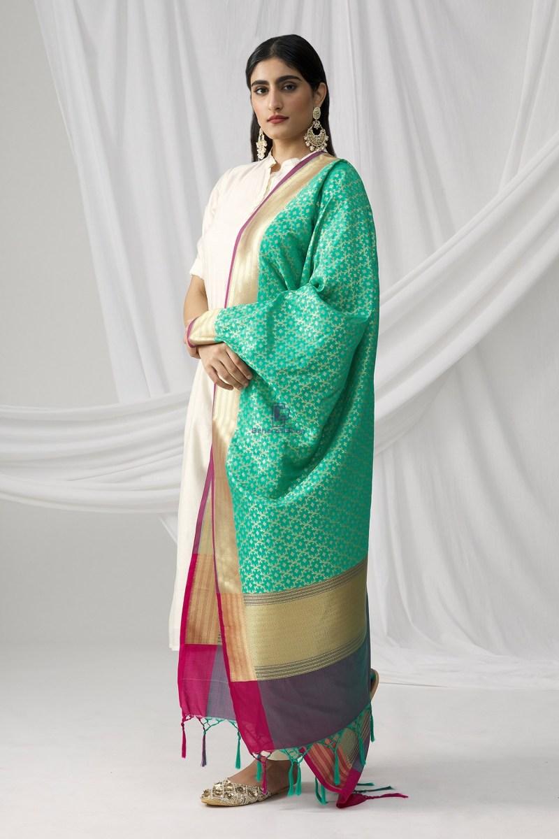 Woven Banarasi Art Silk Dupatta in Turquoise 2