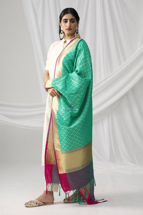 Woven Banarasi Art Silk Dupatta in Turquoise 6