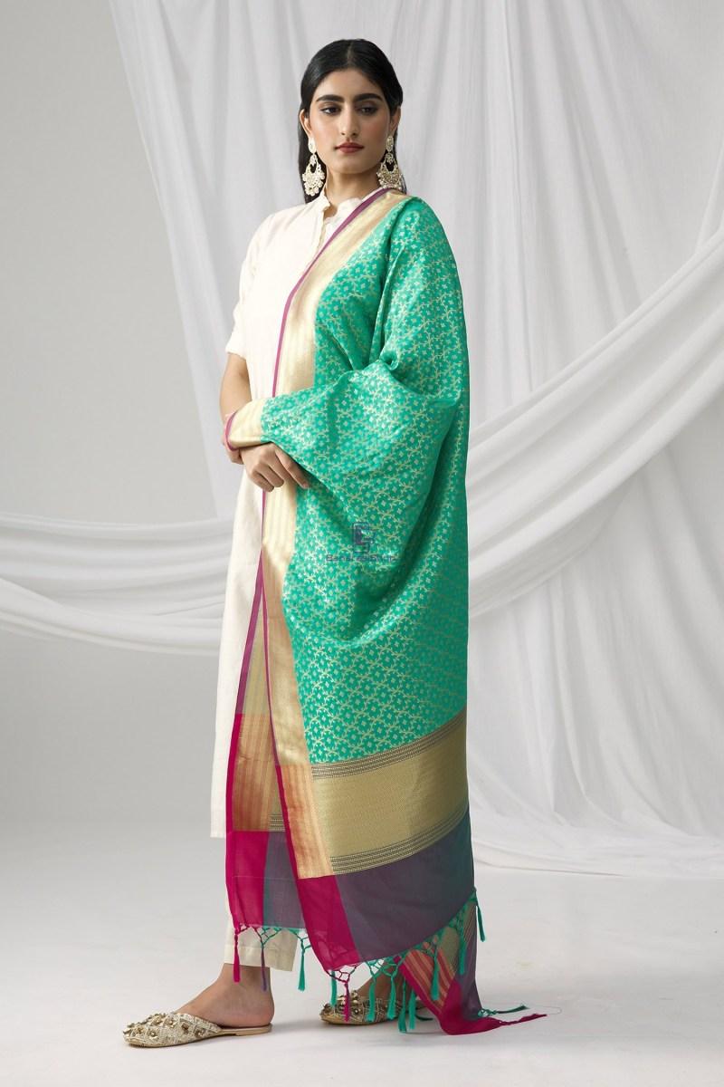 Woven Banarasi Art Silk Dupatta in Turquoise 3