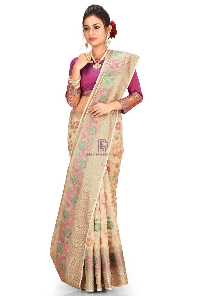 Woven Cotton Silk Saree in Beige 1